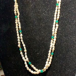 Jewelry - RICE PEARL, BRASS & CHRYSOPRASE NECKLACE